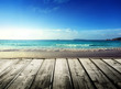Caribbean sea and wooden platform