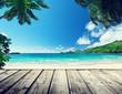 seychelles beach and wooden pier