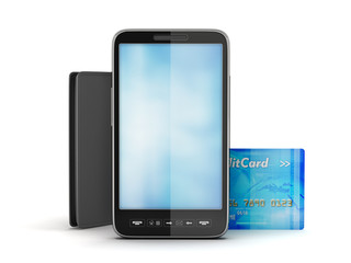 Mobile phone, credit card and leather wallet