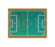Blackboard with a soccer field and players