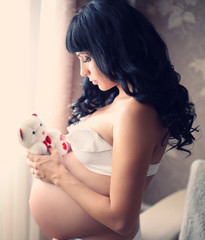 beautiful pregnant brunette woman with teddy bear