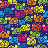 colored turtle icon seamless pattern