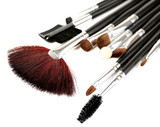 Set of make-up brushes isolated on white