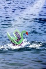 Origami swan on sea concept