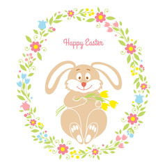 Easter bunny card with flowers