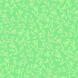 spring greens and flowers seamless pattern