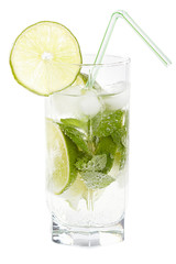 Mojito cocktail on a white background