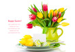 Easter eggs and blank for text in a plate, with tulips flowers o