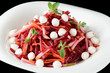 Beetroot and pear appetizer with mozzarella