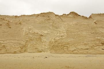 érosion de la dune aquitaine suite aux tempêtes hivernales