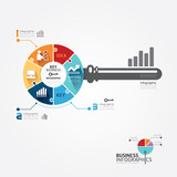 Infographic Template with key business jigsaw banner . concept v