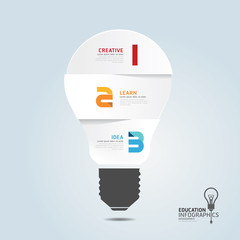infographic Template with Light bulbs paper cut banner . concept