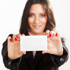 Businesswoman holding Blank business card.