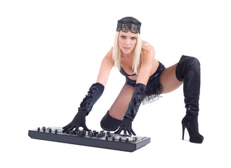 Beautiful Sexy Young Woman playing music on (pickup) mixer