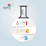 infographic Template with Test-Tube paper cut banner . concept v