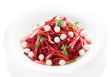 Beetroot and pear salad with mozzarella isolated on white