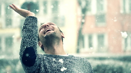 Man enjoying falling snow, super slow motion, shot at 240fps