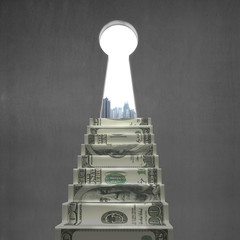 Key hole with money stairs and city view