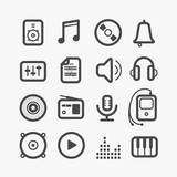 Different sound icons set with rounded corners. Design elements