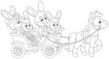 Easter bunnies riding