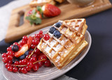 Delicious waffles and fresh berries