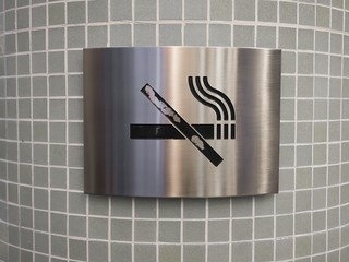 No smoking sign in stainless steel
