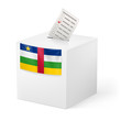 Ballot box with voting paper. Central African Republic