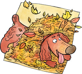 Dog playing in a heap of leaves