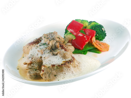 pork with mustard sauce and vegetables