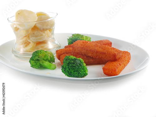 fish fingers with potato salad