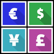 Flat modern currency icons
