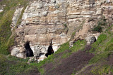 Cave entrances on East Cliff, Hastings, East Sussex