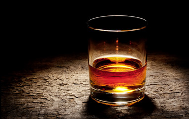 Round glass of cognac