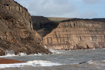 Recent rock fall east of Hastings, East Sussex