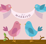 Birds with Married banner