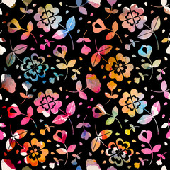 Watercolour floral seamless pattern