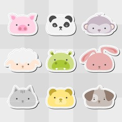 Animal Head Sticker Set