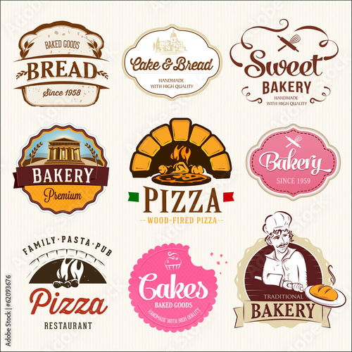 Collection of  BAKERY, CAKES and PIZZA  badges and labels