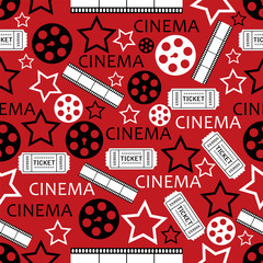 seamless pattern with movies symbols.cinema background.vector