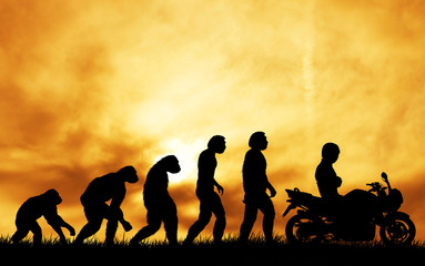 human evolution with motorcycle