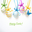 painted easter eggs with bows and butterfly