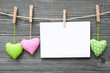 canvas print picture - Message and hearts on the clothesline