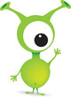 cute cartoon green alien monster