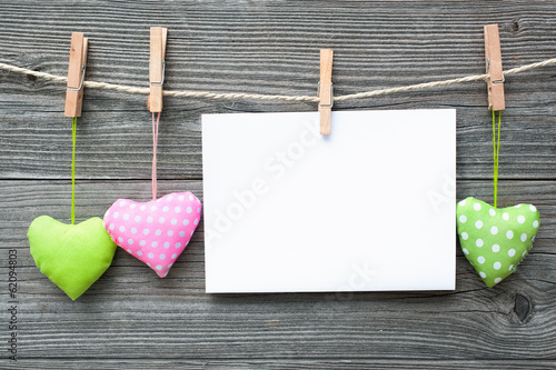 canvas print picture Message and hearts on the clothesline