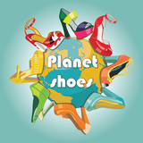 Planet earth and Colorful fashion women's shoes