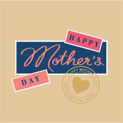 happy mothers day hand lettering, postage stamp and postmark