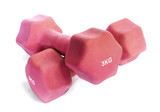 Pink dumbbells weighing 3 kg