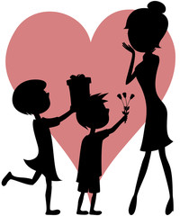 Surprise Mom (daughter and son - silhouettes)!