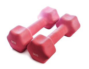 Pink dumbbells weighing 3 kg