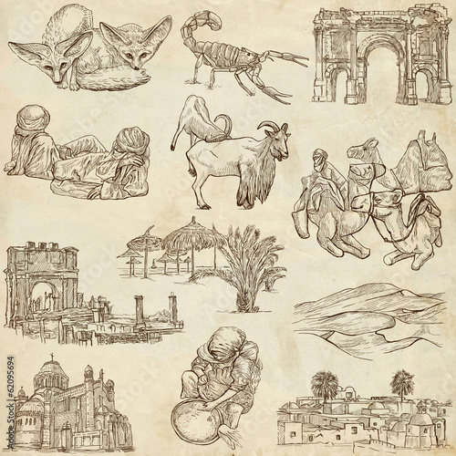 ALGERIA. Collection of hand drawn illustrations on paper